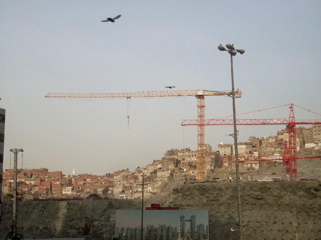Construction work right in front of Masjid al Haram