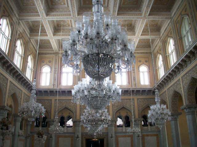 Recently installed chandeliers made from delicate Belgian crystal.